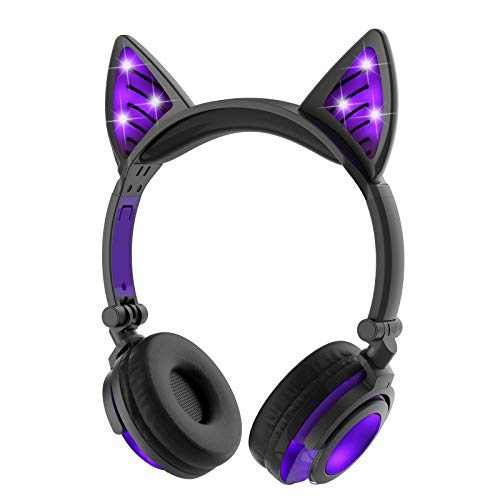LIMSON Drahtlose Bluetooth-Kopfhörer über Ohr, Faltbare Nachladbare Katze-Ohr-Headsets mit Mic LED-Licht-Glühenden Kind-Headphones Compatible für Mobiltelefone, iPad, iPhone, Laptop, Computer (Lila)