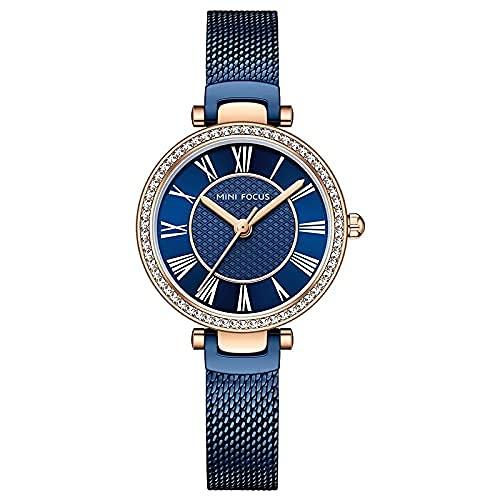 QIXIAOCYB Las mujeres relojes Top marca de lujo cuarzo señoras reloj de pulsera para las niñas Relogio Feno completo acero malla cinturón Feloj mujer montre femme, Blue Watch,