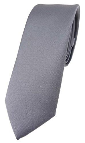 TigerTie schmale Designer Krawatte in silber einfarbig Uni - Tie Schlips