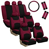 FH Group FB030217-COMBO Light & Breezy Burgundy/Black Cloth Seat Cover Set Airbag & Split Ready- Fit Most Car, Truck, SUV, or Van
