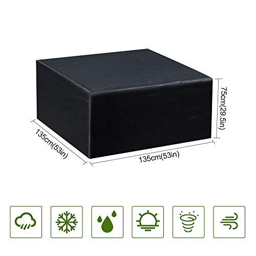 Guansky Funda Protectora para Muebles de jardín Funda Muebles Exterior Impermeable Anti-UV Protección Cubierta de muebles de Mesas Oxford Negro (135x135x75 cm)