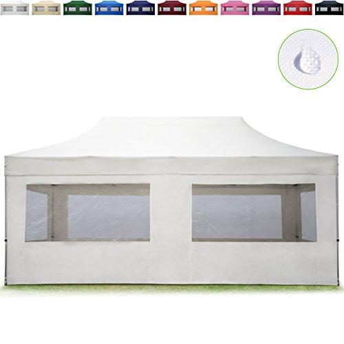 TOOLPORT Faltpavillon Faltzelt 3x6m - 4 Seitenteile ALU Pavillon Partyzelt weiß Dach 100% WASSERDICHT