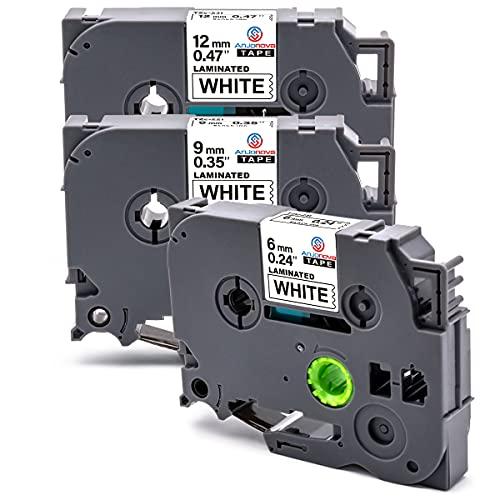 Anjonova 3x Compatibile Tze Etichette Sostituzione per PTouch Nastro Tze-211 Tze-221 Tze-231 per Brother PT-1000 PT-1010 PT-H107 PT-H200 PT-H101C PT-E100 PT-300BT Cube, 6/ 9/ 12mm x 8m, Nero su Bianco