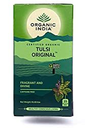 the organic india original tulsi tea is a tasty and unique blend of rama, krishna and vana tulsi (holy basil) varieties, using only the leaves and blossoms, that has been developed after years of research, blending and tasting to create the finest qu...