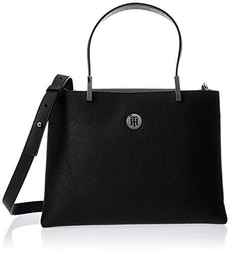 Tommy Hilfiger Th Core Med Satchel, Damen Tornistertasche, Schwarz (Black), 11.5x0.1x28 cm (W x H L)