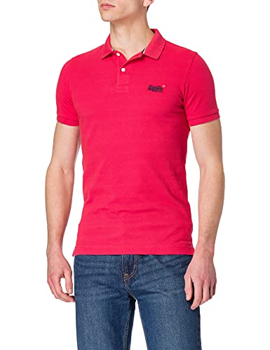 Superdry Herren Classic Pique S/S Polo Poloshirt, Rot (Grapefruit Twist 3AW), Large