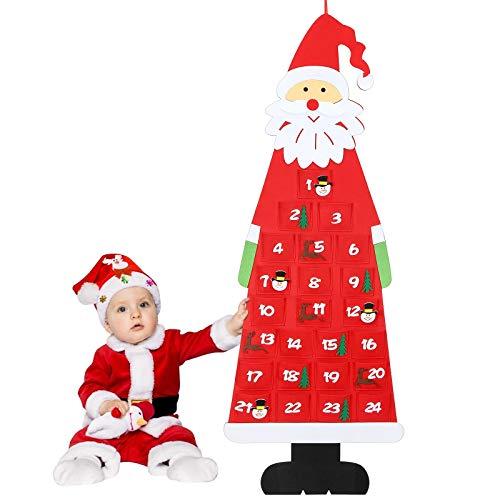 Aitsite Christmas Advent Calendar, 2020 Wall Hanging Santa Felt Advent Calendar with 24 Days Countdown Pockets, Xmas Decorations for Boys and Grils, Toddlers Kids Room