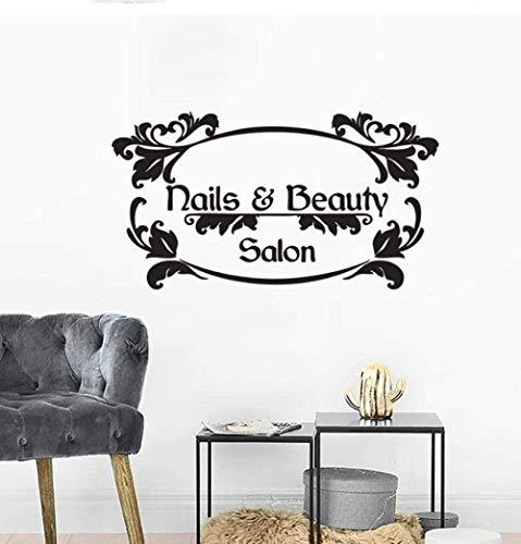 DIY stickers muraux créatifs personnalité autocollants ongles cheveux salon de beauté logo manucure affiche logo fenêtre art 76X42 cm