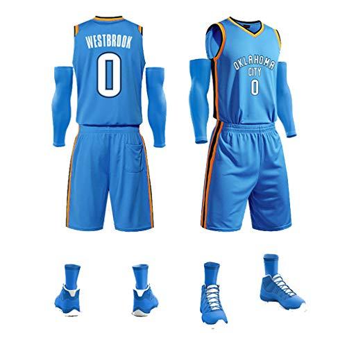 Herren Oklahoma City Trikot - # 0 Russell Westbrook Teens Mesh Bestickte Basketball Sport Swingman Trikot Ärmellose Sportweste Top Shorts-Blue-S