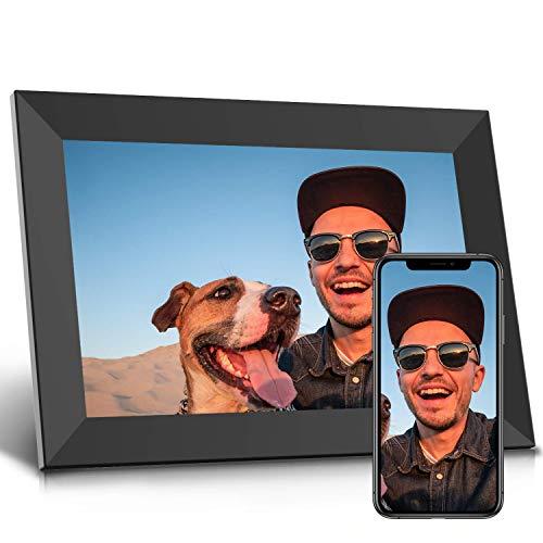 Jeemak Cornice Digitale WiFi 10,1 pollici Portafoto Digitale HD IPS Touch Screen Cornice Foto Digitale Auto-Rotazione, Ritratto o Paesaggio, Mostra e Condividi Foto e Video con l'App Frameo