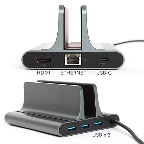 Laptop Docking Station Stand, USB C, (6-in-1 Type C) Thunderbolt Port, HDMI, USB, Type C, Compatible with MacBook/MacBook Pro and IPad, Single/Dual Monitor, Desk Organizer, Laptop Hub, MacBook Dock