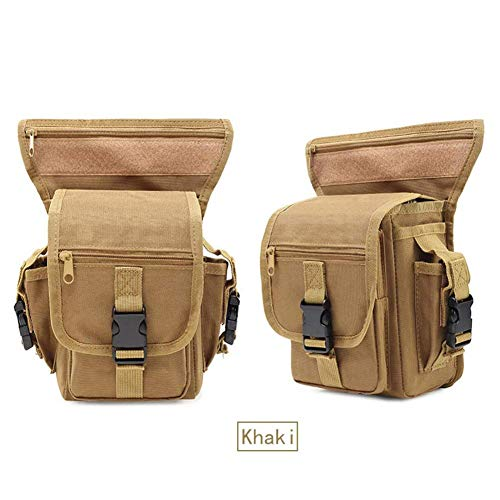 SHRAY Below 20L Multifunctional Waist Bag Tactical Leggings Assault Pocket Fan Pack Outdoor Motion Multifunction Riding Oxford Cloth Waterproof Waist Leg Bag Khaki