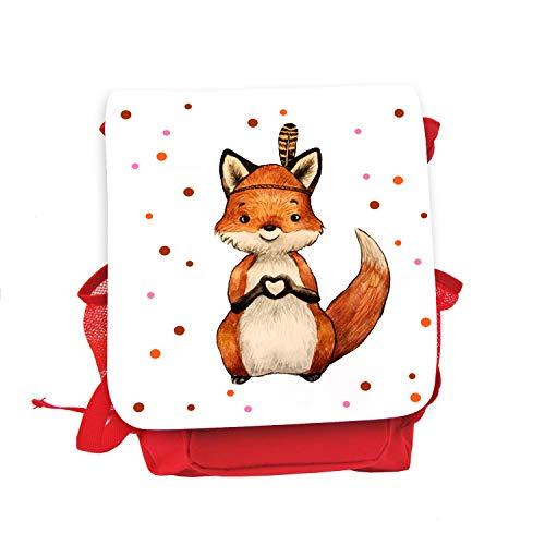 ilka parey wandtattoo-welt Kinderrucksack Indianer Fuchs Herz rot rosa Wunschname Kindergarten Rucksack Tasche kgn060 - ausgewählte Farbe: *rot*