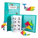 Toyvian Tangram di Madera Montessori Juguetes Puzzle Forma de Viaje Puzzle Montessori Rompecabezas para Niños Adultos