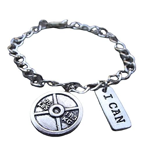 Pulsera de plata motivacional con mancuerna, tenedor y dije 'I Can' / joyería de fitness, regalo de gimnasio, regalos de fitness, crossfit / Eat Clean