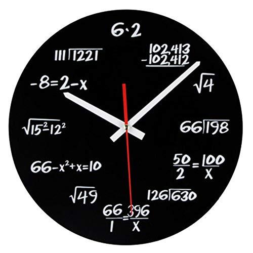 Mathematik Wanduhr, Neuheit Timelike Einzigartige Wanduhr Mathematische Formeln Uhr, Einfache Mathematische Gleichung für Klassenzimmer, Haus, Büro Moderne Dekoration (Schwarz 30cm)