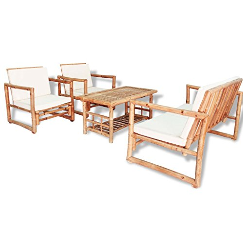 Festnight 12pcs Salon de Jardin en Bois de Bambou 1 Table Basse + 1 Banc + 2 Chaise