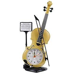BESPORTBLE Violin Alarm Clock Creative Digital Desk Time Clock Novelty Bedside Clock Violin Model Figurine Ornament for Kids Adults Bedroom Table Office Decor