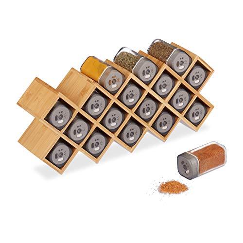 Relaxdays 10025951 kruidenrek met 18 kruidenstrooiers, bamboe, glas, keukenorganizer kruiden, staand, HBT 18 x 44 x 9,5 cm, natuur
