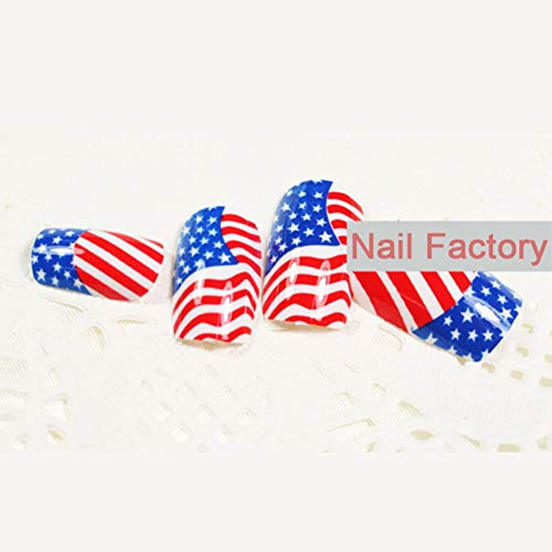 オピエート式微視的ネイルのヒント24個/セットアメリカ国旗デザイン偽の釘アクリルネイルアートと接着剤美容ファッションアメリカの国旗