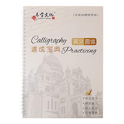 BELTI Libro de Copia de Escritura Cursiva, Cuaderno de caligrafía en inglés para niños Adultos, Libro de práctica de Escritura a Mano con Ranura de Ejercicio