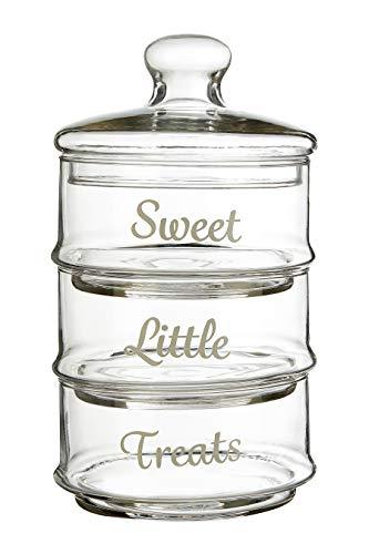 Premier Housewares stapelbar Aufbewahrungsdosen, Glas, farblos, 3 Stück, klar, 13x13x22, 3