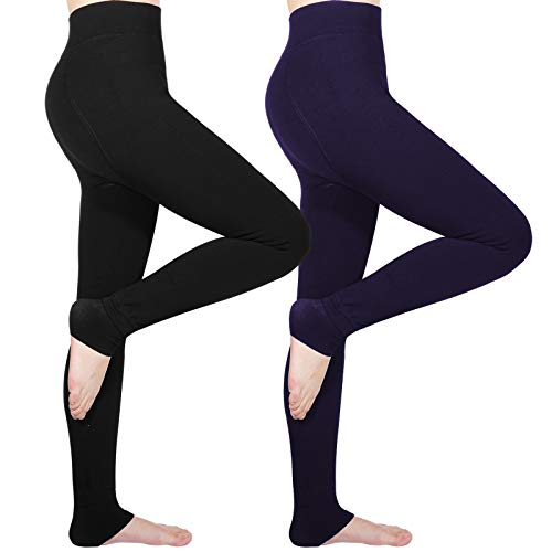 Tencoz Damen Mädchen Leggings Herbst Winter weiche Slim Leggings Hose Dicke Winter warme (Navy blau+schwarz)