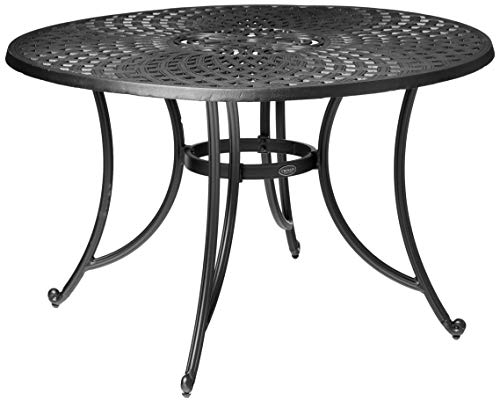 Crosley Furniture Sedona Solid-Cast Aluminum Outdoor Dining Table, 46-inch, Black