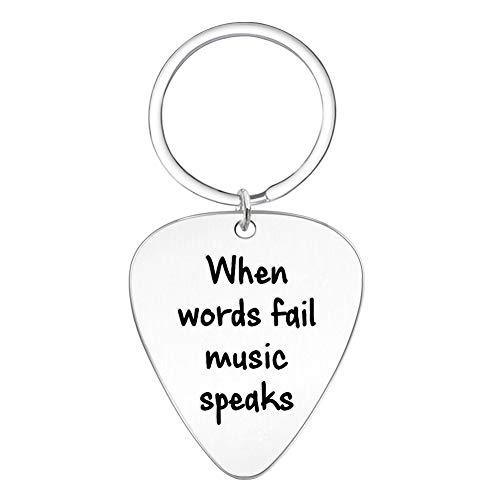 Elegant Chef When Words Fail Music Speaks Guitar Pick Key Chain- Jewelry Gift for Musician Husband Boyfriend Fiance