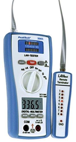 PeakTech 3365 – LAN Tester & True RMS Digital Multimeter, Netzwerkprüfgerät, Spannungsprüfer, Handmultimeter, Kabeltester, Messung, Spannungsmesser, Durchgangsprüfer, Messgerät, Erdungskabel - 600 V