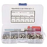 WLGOLD Kit de inserción de reparación de roscas, 105 Piezas/Set Juego de Herramientas de inserción de reparación de roscas de Manga de Tornillo de Alambre de Acero Inoxidable(M5*0.8)