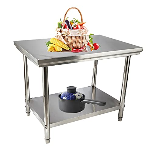 Cozyel Stainless Steel Table for Prep & Work 40x28 Inches, Commercial Kitchen Heavy Duty Table with Adjustable Undershelf and Table Foot for Restaurant, Home and Hotel