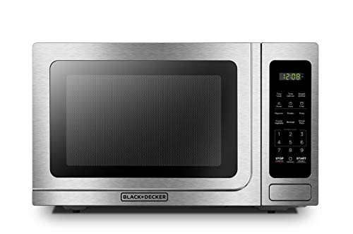 BLACK+DECKER EM036AB14 Digital Microwave Oven with Turntable Push-Button Door,Child Safety Lock,1000W,1.4 cu.ft,Stainless Steel (Renewed)