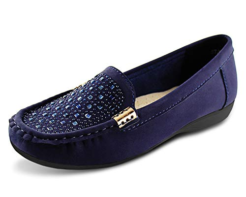 JABASIC Women Penny Moccasins Loafers Comfortable Slip On Driving Flats Shoes(8,Navy)