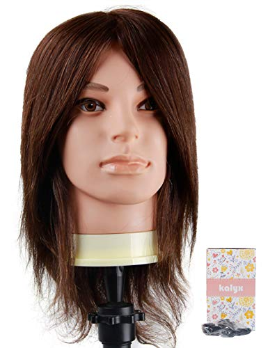 Cosmetology Male Mannequin Head with 100% Human Hair for Barber Shops Styling Cutting Practicing E50 Brown Natural Hair by Kalyx(w/o Beard)