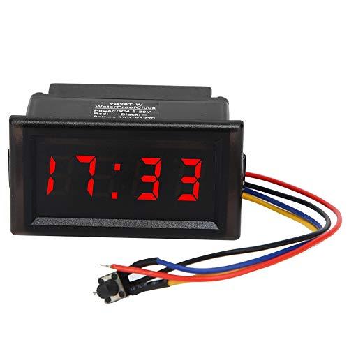 Elektronische Uhr - DC4.5-30V Wasserdichtes staubdichtes Auto Auto Elektronische Uhr LED Digitalanzeige(ROT)