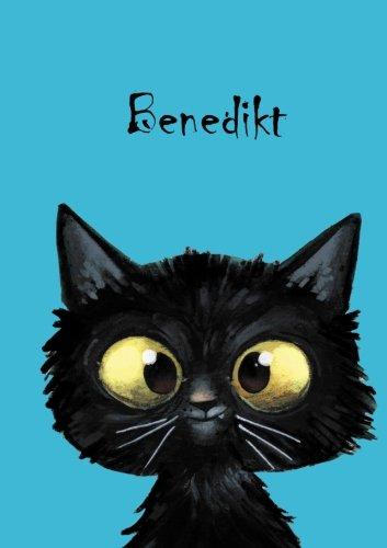 Benedikt: Personalisiertes Notizbuch, DIN A5, 80 blanko Seiten mit kleiner Katze auf jeder rechten unteren Seite. Durch Vornamen auf dem Cover, eine ... Coverfinish. Über 2500 Namen bereits verf
