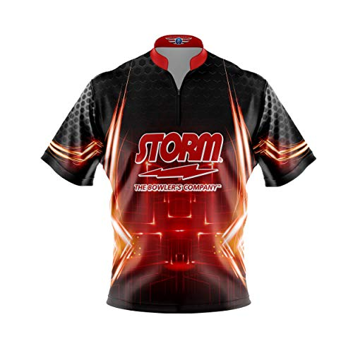 Logo Infusion Bowling Dye-Sublimated Jersey (Sash Collar) - Storm Style 0247ST (L) Red Black