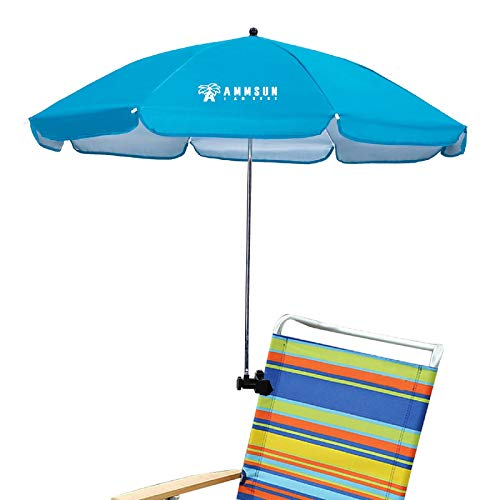 AMMSUN Beach Chair Umbrella with Adjustable Clamp 43 inches UPF 50+, Portable Clamp on Stroller, Wheelchair, and Wagon (Sky Blue)