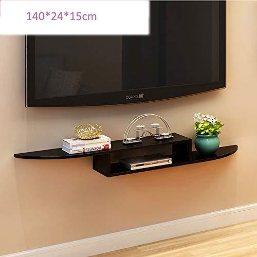 MTG Scaffalatura per sporgenze per componenti Dvd, Set Top Box, Cable Box, dispositivi di streaming e Dvr con ripiani in vetro nero Risparmio di spazio e facilità di installazione,Nero,140x24x15cm