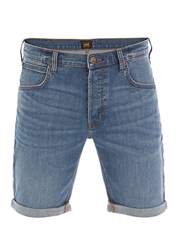 Lee Herren Jeans Short Regular Fit Kurze Stretch Shorts Baumwolle Bermuda Sommer Hose Blau w33, Größe:W 33, Farbe:Mid Used (L73ESJWY)