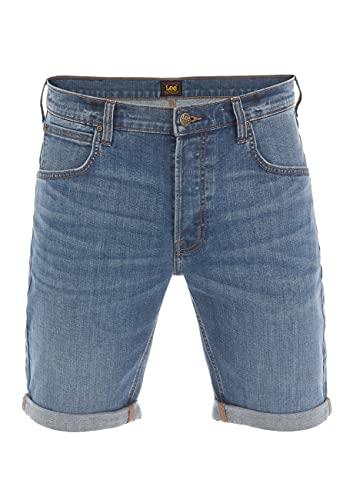 Lee Pantalones vaqueros cortos para hombre, corte regular, elásticos, de algodón, bermudas, para verano, color azul, w30, w31, w32, w33, w34, w36, w38, w40 Mid Used (L73esjwy) 40