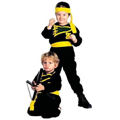 NET TOYS Petit Samurai Costume de Ninja Déguisement pour Enfant Noir Asie Guerrier Déguisement pour Garçon Japon Combattant Costume de Carnaval Karaté Tricot Kimono 110 cm / 4 Ans