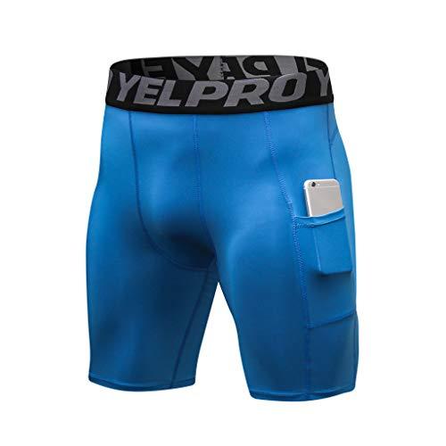 VEKDONE Men Tops Mens Compression Shorts Cool Active Sports Baselayer Leggings Tight Yoga Shorts Blue