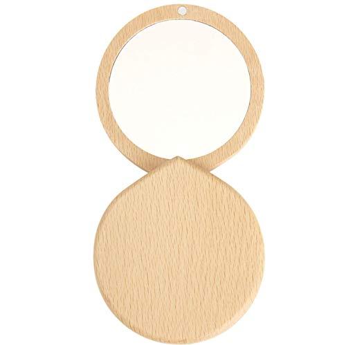 anaan 'Drop' Espejo de Bolsillo Compacto madera Espejo Cosmético Bolso Maquillaje Espejo de Mano pequeño Redondo para Regalo Viaje Diseño (haya)
