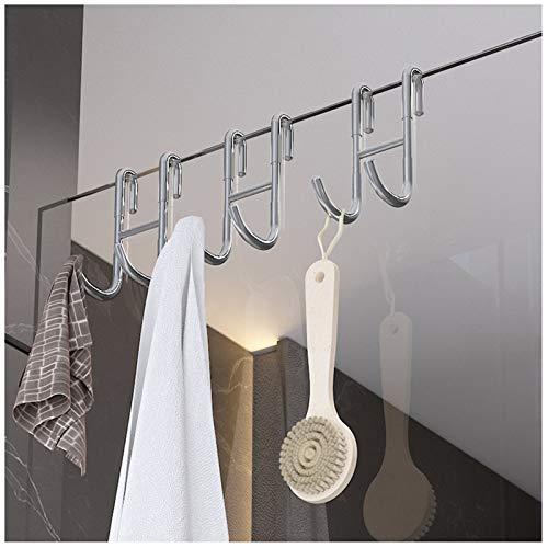 LXLTL 3Pcs Shower Door Hooks, S Shaped Punch Free Bath Towel Hooks, Over Door Hooks for Bathroom Frameless Class Door Hooks for Hanging Coat Towel Hat Rack
