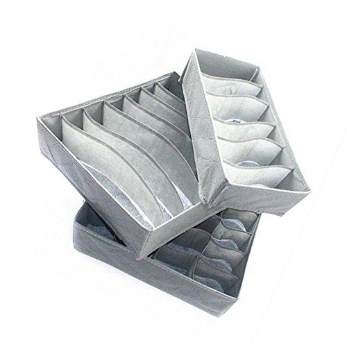 Toruiwa - Organizador de ropa interior para armario, plegable, con separadores de sujetador, telas no tejidas, caja de almacenamiento para calcetines, corbatas, bufandas, pañuelos, color gris