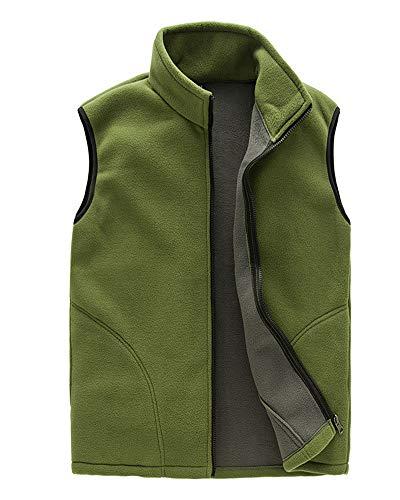 Homme/Femme Hiver Gilet Chaud Doublure Polaire Softshell Bodywarmer Gilet Confortable Veste sans Manches avec Poches Hommes Jaune Army XXL