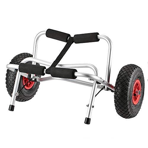 NOBLJX Carro para Kayak Plegable, Portador de Canoa para Botes de Aluminio para Trabajo Pesado con neumáticos y 4 Parachoques de Espuma, para Kayaks, canoas, Capacidad de Carga de 75 KG