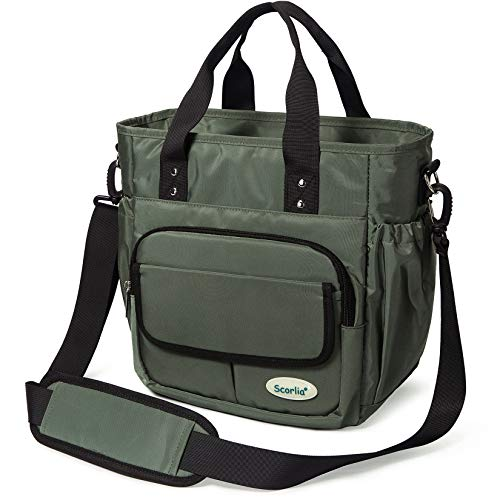 Insulated Lunch Bag, Scorlia Extra Large Leakproof Lunch Tote Bag With Removable Shoulder Strap, Durable Reusable Cooler lunch Box Bag with Side Pockets, Tall Drinks Holder for Women Men Work, Green